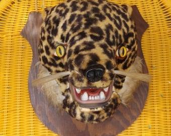 50er Jahre Kunstfell Leopard Kopf Präparatoren Mount Kitsch wilden Tier Art Vintage Dekor große