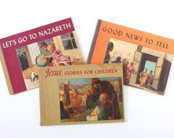 Vintage Mid Century Children's Books - Three Religious Books