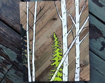 Wood painting / tree painting / modern art / one of a kind
