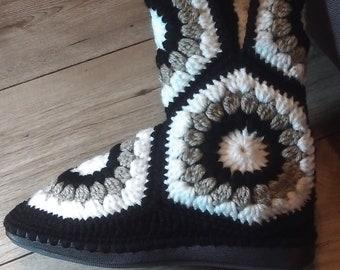 Crochet Hexagonal slipper boots with sole for Outside Women Slipper Boots