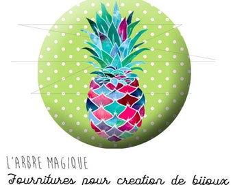2 cabochons glue pineapple fruit exotic ref 1739 - 16 mm.