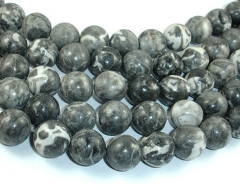 Black Fossil Jasper Beads, 14mm Round Beads, 15.5 Inch, Full strand, Approx 30 beads, Hole 1.2 mm, A quality (220054006)