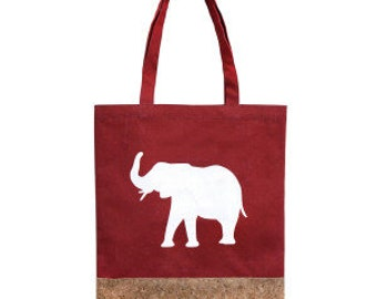 Red Tote Bag with White Elephant