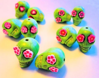 Sugar Skull Beads-Collection of 10 Green 18mm Skull Beads Pink Flower Eyes