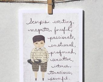 Scorpio boy card Astrology card Zodiac card Astrological sign card