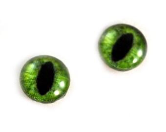 10mm Glass Eyes, Green Cat Eyes, Green Dragon Eyes, Eye Cabochons, Art Doll Eyes, Jewelry Making, Small Eyes, Taxidermy Eyes, Craft Supplies