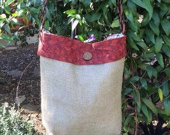 Burlap Crossbody Bag, Burlap Shoulder Bag, Burlap tote bag, repurposed materials