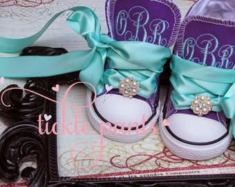 Monogrammed Baby CONVERSE with ribbon laces and jewels- Made to match Tickle Pants Birthday Collections - Infant to big girl- LOTS of colors