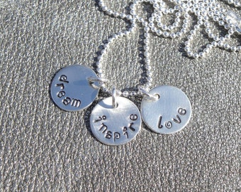 Hand Stamped Sterling Silver Dream, Inspire, Love Charm Necklace - Graduation Gift - Gifts for Her