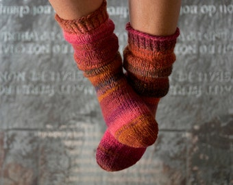 Hand knitted socks, thick wool socks 38/39, red socks, house socks