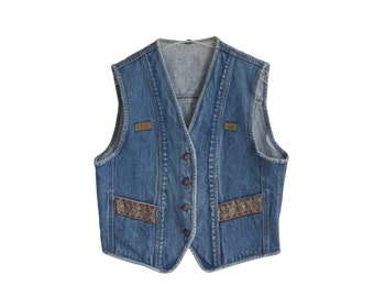 Indigo Blue 1980s Vintage Denim Vest Size M E D I U M