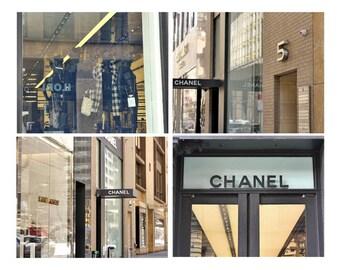 Fashion wall art set, New York City Fashion photography print set of 4 Coco Chanel art prints, fashion dorm decor, fashion store street sign