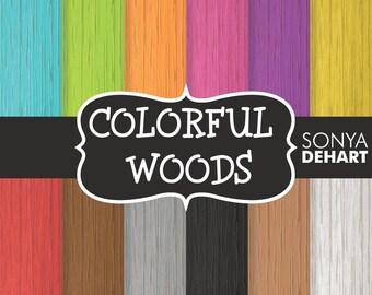 80% OFF SALE Digital Paper Colorful Woods Background Patterns