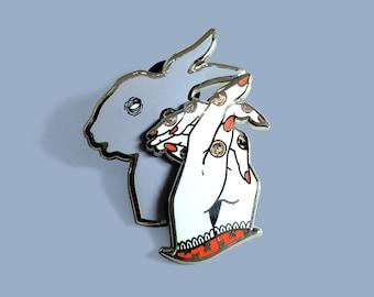 Shadow Puppet Bunny Rabbit Hand Enamel Lapel Pin Badge / Artist Series pin by Bad Ponies / Halloween Cute Spooky Dead Animal Friend Forest