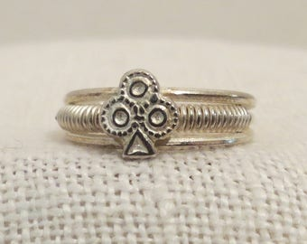 Clubs Coiled Band Adjustable Open Back Sterling Silver Ring Sz