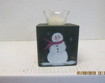 Snowman candle holder block