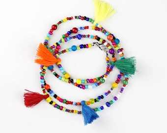 Beaded Tassel Necklace Longer Length Perfect for Layering Bohemian Hippie Style Necklace in Bright Multi Color Tones