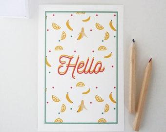 """""""Hello"""" illustrated postcard of bananas and lemons"""