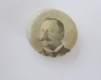 C 1900 Antique Celluloid Political Presidential Campaign Pinback Button Hobart ?