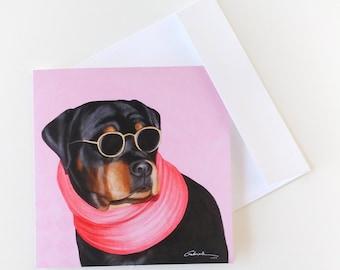 ROTTIE BLANK ART Greeting Card -six-