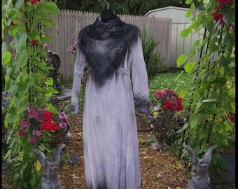 Vintage CORPSE BRiDE Dress Tim Burton Wedding Dress Ghost Bride Halloween Bridal Gown SiZE 10