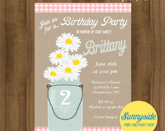 Girls country birthday invitation, mason jar invite with pink plaid gingham and daisies, second birthday, printable or printed