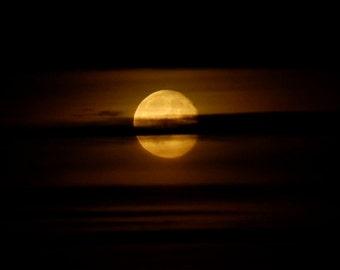 Moon Print, Hazy gold Full Moon photo, moon phase photograph, golden moon in dark night sky, moon picture with clouds, black & gold print