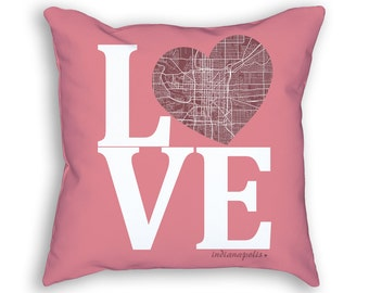 Indianapolis Indiana Street Map Love Throw Pillow, Indianapolis Pillow, Indianapolis Cushion, Indianapolis Throw Pillow, Indianapolis Decor