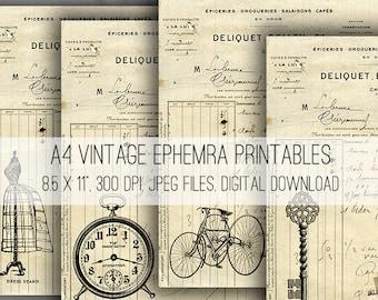 A4 Vintage Ephemera Digital Collage Sheet Download -1046- Digital Paper - Instant Download Printables