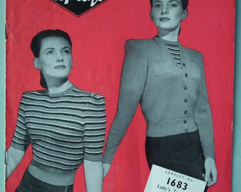 Vintage Knitting Pattern 1940s Women's Twin Set Jumper Sweater Cardigan Striped 40s original pattern Copley's No. 1683 UK