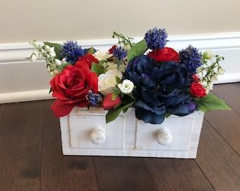 Patriotic Decor, American Decorations, 4th of July Decor, Memorial Day Decor, Table Decor, Floral Centerpieces, Patriotic Decorations