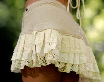 Lily Layer Skirt (Creamy White) - Festival Clothing Handmade Gypsy Goa Bohemian Fairy Elf Cotton and Boho Hippie Wrap Skirt with Pocket
