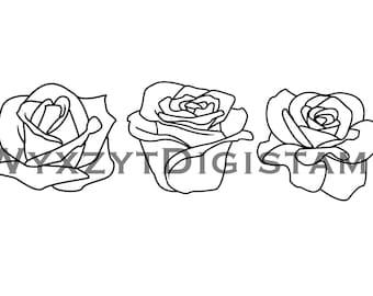 Flower digistamp set/Roses digistamps/Instant download/roses coloring/printable art