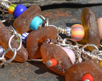 SUMMERTIME BROWN- Sea Glass ANKLET