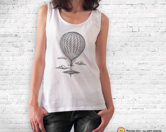 Hot air balloon T-shirt-retro hot air balloon shirt-steampunk t-shirt-hot air balloon top-travel shirt-traveler gift-NATURA PICTA NPTS074
