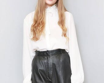 Vintage 1980's Black High Waisted Soft Leather Shorts