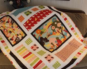 Moda, Oh Deer Fabric, Modern Quilt, Handmade Quilt, Throw, Oh Deer Fabric, Couch Quilt, free shipping