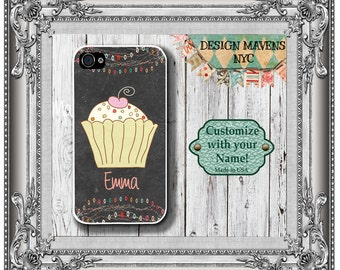 Cupcake iPhone Case, Personalized iPhone Case, Monogram Phone Case, iPhone 5, 5s, 5c, 4, 4s, iPhone 6, 6s, 6 Plus, SE, iPhone 7, 7 Plus