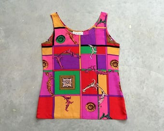 mr jax silk tank top   primary color block vintage silk blouse   baroque print 90s silk shirt   1211249