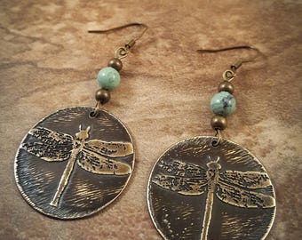 Handcrafted Etched Dragonfly Earrings