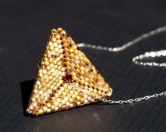 Golden Pyramid ... Pendant . Necklace . Sterling Silver Chain . Geometric . Peyote Triangle . Metallic . Sparkle . 22k Gold Beads