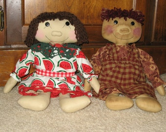 Primitive and Country Sisters Doll Mailed Paper Pattern from Sew Practical, Mom and Pop Craft