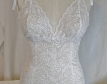 Fitted Bralette Camisole in White Stretch Lace with Satin Tie Straps