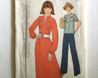 Vintage Sewing Pattern Women's 70's Uncut, Simplicity 8023, Pullover Dress, Top (XS)