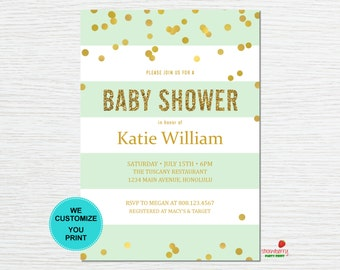 Gender Neutral Baby Shower Invitation, Sprinkle Invite, Oh Baby Gold Confetti Stripes, Custom Digital Printable NOT Instant Download, C10