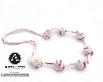 Bordoneo Pastel, Crochet necklace, Necklace in natural fibers, Handmade knitted necklace