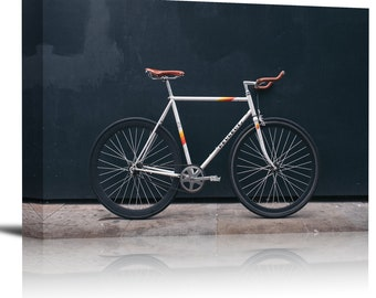 Vintage Road Bicycle Black Wall Art Print Decor Image - Canvas Stretched Framed