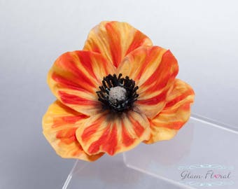 Orange Poppy Hair Clip . Real Touch Flowers. Real Touch Poppy Flower. Orange Hair Clip. Orange Wedding. Orange Flower Hair Clip