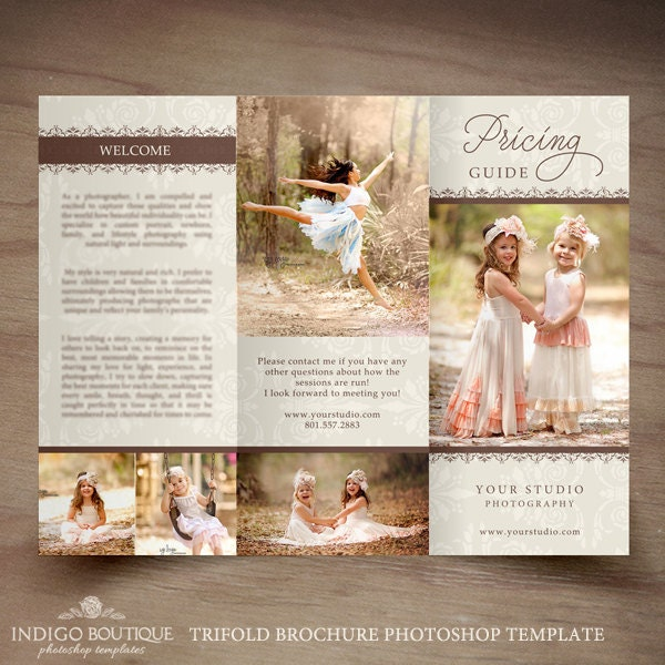 Photography Trifold Brochure Template Elegant Client Welcome - Elegant brochure templates