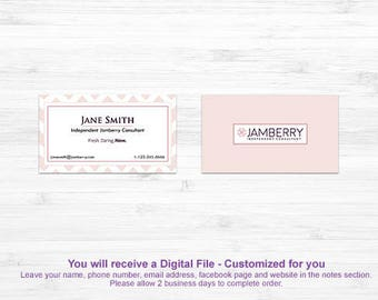 Soft Blush Business Cards | Double Sided Card | New Jamberry Colors and Logo